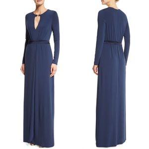 HALSTON HERITAGE Long Jersey Keyhole Evening Dress